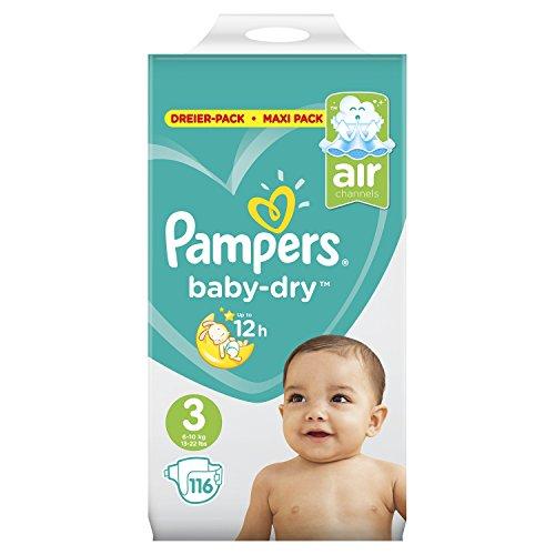 Pampers Baby-Dry Windeln, für Atmungsaktive Trockenheit, Gr. 3, 6-10 kg, 1er Pack (1 x 116 Stück)