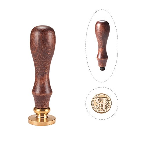 Pandahall elite 1pc sigillo timbro di cera alfabeto lettera p e 1pc maniglia in legno, 25x14mm, 75mm