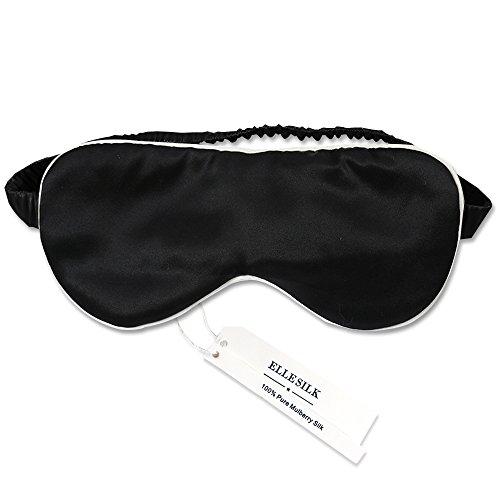 ELLESILK Seide Augenmaske Augenbinde zum Schlafen, Maulbeerseide Schlafbrille für tiefen Schlaf und optimale Erholung, Hypoallergen, Schwarz/Elfenbein (Rose Seide Top)