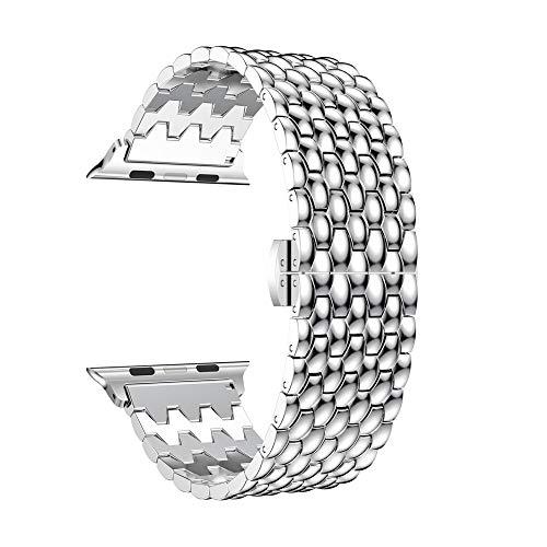 TianranRT Loop Luxus Legierung Verbindung Armband Watch Band Gurt für Apple Watch Serie 4 40MM (Silber,40MM)