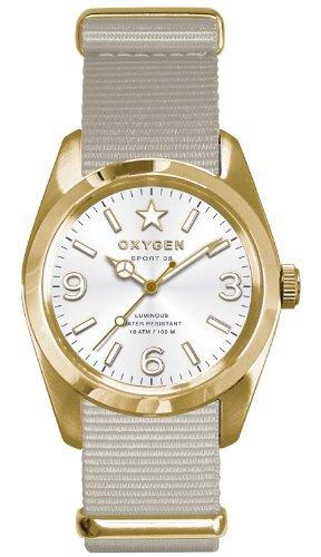 Oxygen EX-S-NUG-38-IV - Reloj analógico de cuarzo unisex, correa de nailon color blanco (agujas luminiscentes)