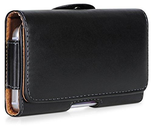 Handyhülle | Tasche | Cover | Case für das Samsung Galaxy S6 Edge / SM-G925 von DONZO in Schwarz Horizont Smooth als Etui nach oben aufklappbar im Book-Style mit Gürtelclip