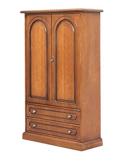 Arteferretto Meuble placard petite taille en bois pour rangement, équipée de 2 portes, 2 tiroirs et 2 étagères réglables, livrée montée