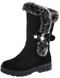 Mujer Clásico Lluvia Nieve Forrada Piel Zapato Invierno Bota KOLY Botas Ponerse Suave Nieve Botas Dedo del pie redondo Plano Invierno Piel sintética Rebaño Tobillo Botines para Mujer