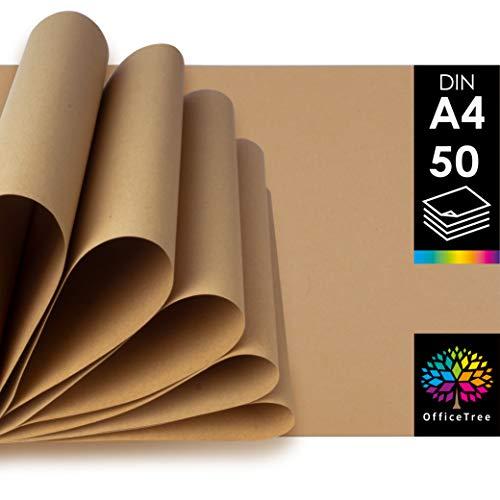 OfficeTree Kraftpapier DIN A4 - 50 Blätter Craftpaper - Braunes Papier 100g/m² Qualität - Kartenpapier hochwertig zum Basteln, Schreiben, Drucken