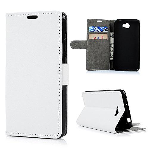 Lanveni Huawei Y5 II / Huawei Y6 II Compact Hülle, Handyhülle Huawei Y6 II Compact Flip Case Cover PU Lederhülle Schutzhülle Magnetverschluss Ledertasche mit Stander Function Brieftasche Card Slot Handy Tasche mit Weiß Cover Design