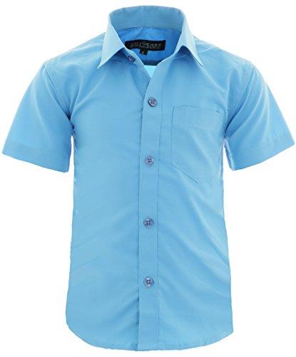 GILLSONZ A0vDa Kinder Party Hemd Freizeit Hemd bügelleicht Kurz ARM mit 9 Farben Gr.86-158 (128/134, Türkis)