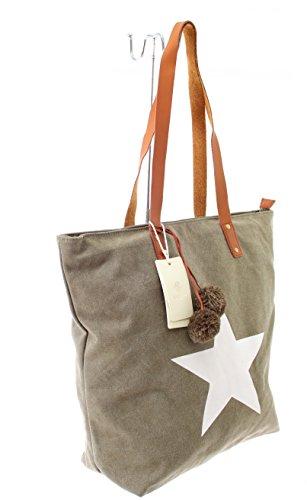 Damen Handtasche Sommertasche Canvas Tasche mit Stern Damen Tasche Handtasche Tragetasche Schultertasche Stofftasche Weekender (Olive) (Weekender Olive)