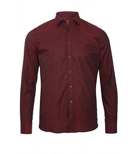 Pure - Slim Fit - Herren Langarm Hemd in verschiedenen Farben (3543 562), Größe:L, Farbe:Bordeaux (330)