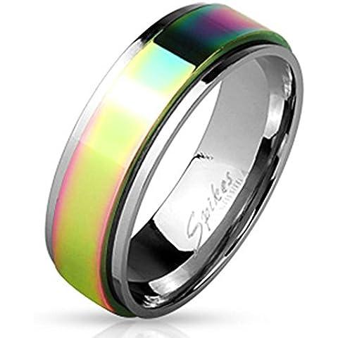 Paula & Fritz anello in acciaio INOX chirurgico 316L argento 8 mm larga Spinner con pioggia microabrasivi superficie disponibile anello misure 60 (19) - 69 (22) R_H1660