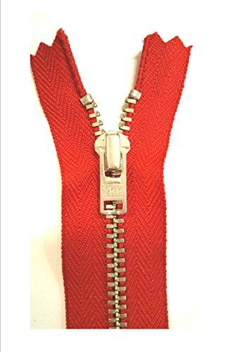 YKK Hosen Reißverschluss 16cm Metall 3mm Kette silber fein rot - 3 Ykk Hosen