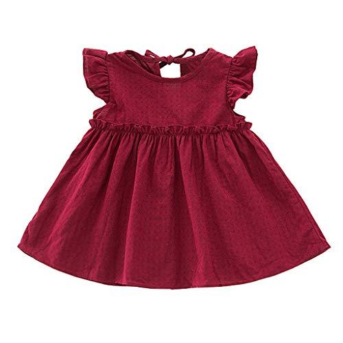 Weant Baby Kleidung Mädchen Kleider Festlich Outfits Röcke Hosen Fliegender Ärmel Einfarbig Partykleid Sommerkleid Prinzessin Kleid Kinder Kleider Baby Bekleidungssets Neugeborenen Bekleidungset