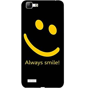Casotec Happy Quote Design 3D Printed Back Case Cover for Vivo V1