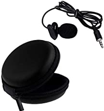 Raptas Microphone Mini Hands Free Clip On Lapel Mic with 3.5mm Jack for Sound Recording with Multi Purpose Pocket Storage Travel Organizer Carry Case