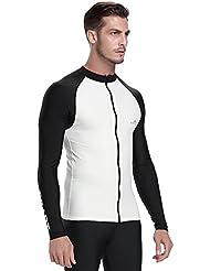 Hommes à manches longues Rashguard Bain chemises de surf T-shirt pour plongée Tuba plongée