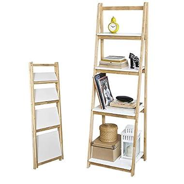 SoBuy FRG162-N Leiterregal klappbar Standregal Bücherregal mit 4 Böden Kautschukholz und MDF BHT: 42x140x34cm