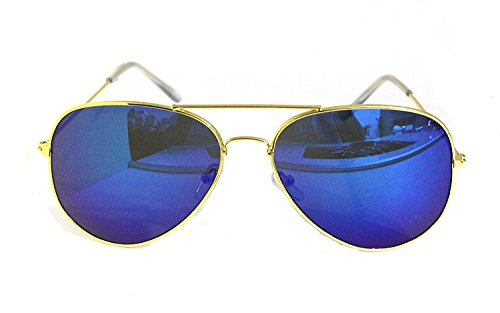 RetroUV® Premium Full Mirrored Aviator Sonnenbrille Classic Metal Rahmen Uv400 (Gold Rahmen / Blau Linse)