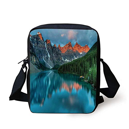 Landscape,Morning Sunrise Moraine Lake in Banff National Park Snowy Peaks,Aqua Dark Orange and Green Print Kids Crossbody Messenger Bag Purse (Coach Laptop Bag 13)