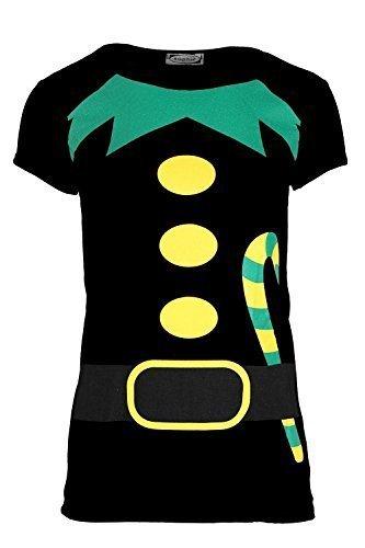 Damen Weihnachten T-shirt Damen Weihnachten Elfe Kostüm Candy Klebe Aufdruck Jersey Oberteil - Schwarz, (Kostüm Elfen Muster)