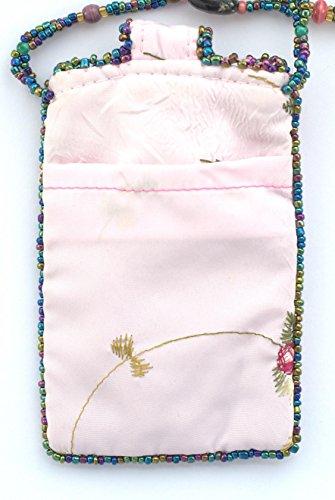 Sacchetto in seta per telefono cellulare, motivo: fiore–Biglie di vetro e porcellana Rose