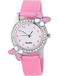 Sky Mart Exclusive Premium Quality Diamond Studded Pink Butterfly Stylish Analog Watch For Girls & Women