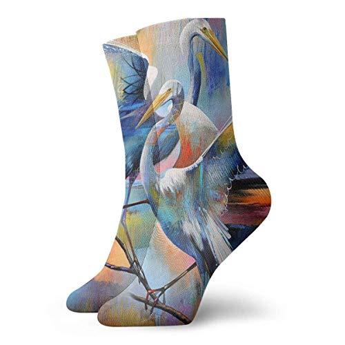 Länge Athletische Socken Schwarz (Unisex Adult Neuheit lustige verrückte Crew Socke Kran Paar 3D gedruckt Winter dicken Sport athletische Socken)