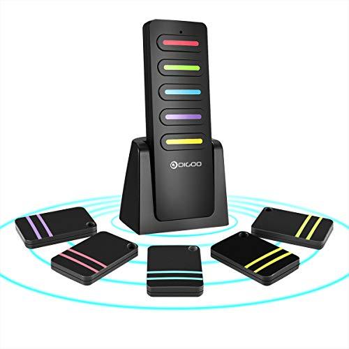 Schlüsselfinder, DIGOO Wireless Key Finder mit 5 Empfängern Item Locator & 1 Sender, Item Tracker Support Fernbedienung Gute Idee für Ihre verlorenen Gegenstände
