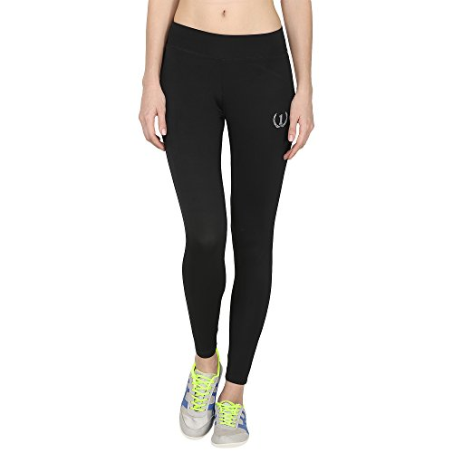 ONESPORT Black Solid Slim Fit Ankle Length Sports Tights for Women(ONSP40BL-M)