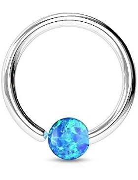 Paula & Fritz® Ring aus Edelstahl Chirurgenstahl 316L für Lippe, Nase, Augenbraue mit Opal Blau, Weiß, Pink