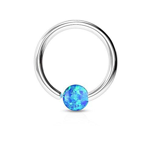 Paula & Fritz® Ring aus Edelstahl Chirurgenstahl 316L [Dicke: 0.8mm; Länge: 10mm; Kugelgröße: 2mm] für Lippe, Nase, Augenbraue mit Opal Blau