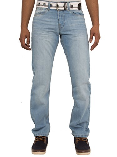 New Mens ENZO Stonewash Straight Regular Fit Classic Basic Denim Jeans Pants With FREE Belt