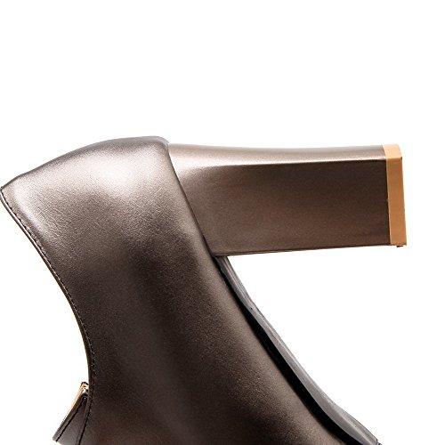 VogueZone009 Donna Puro Luccichio Tacco Alto Scarpe A Punta Allacciare Ballet-Flats Argento