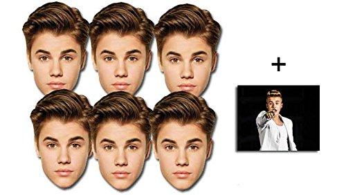 Justin Bieber Karte Partei Gesichtsmasken (Maske) Packung von 6 - Enthält 6X4 (15X10Cm) starfoto