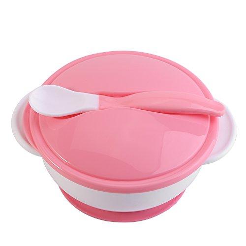 Snap-deckel (Saugnapf Schüssel TOPINCN Mit Löffel Set Baby Kinder Lebensmittel Fütterung Schalen Ausbildung Kunststoff Geschirr Dusche Geschenk(White Spoon+Pink Bowl))
