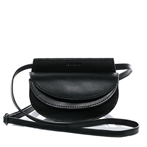 FEYNSINN Hüfttasche Leder MARVI klein Bauchtasche aus Leder Damen Gürteltasche echte Ledertasche Damentasche schwarz