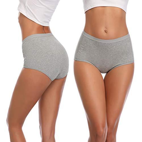 K-cheony Comfort Damen Hoher Taille Baumwolle Unterwäsche Weiche Slip Panty Regular und Übergröße - - Mittel - 5