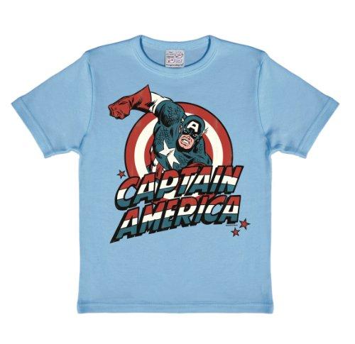 Logoshirt Marvel Comics - Captain America T-Shirt Kinder Jungen - hellblau - Lizenziertes Originaldesign, Größe 170/176, 15-16 Jahre