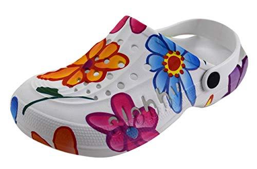 Blaue Blume-clogs (ACO Damen Clogs & Pantoletten Muster Bunte Blumen (40, Lila/Blau/Rosa))