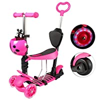 Yorbay® Kids 3 in 1 Toddler Kick Scooter Offset with 3 Wheels with LED Wheels and Removable Seats, Adjustable Handlebar for Children Girls/Boys