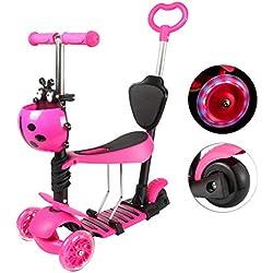 Yorbay Trottinette 3 en 1 Scooter à 3 Roues Réglable en Hauteur avec Roues à LED pour Les bébés, Les Tout-Petits et Les Jeunes Enfants (Rose)