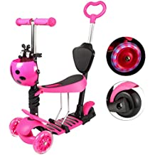 Yorbay Patinete Scooter Freestyle 3 en 1 Walker Trole Scooter 3 Ruedas de LED Altura Ajustable