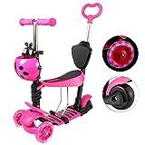Yorbay Kleinkinder Kinder Scooter Roller 3-in-1 3 Räder Mini Kinderscooter Kinderroller Kinder Tretroller mit Abnehmbarem Sitz Leuchtrollen und Verstellbare Lenker für Jungen Mädchen ab 1 Jahre (Pink)