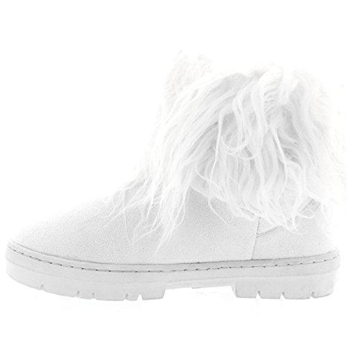 Damen Lange Pelz Bedeckt Regen Pelz Gefüttert Winter Wasserdicht Short Schnee Sitefel Weiß