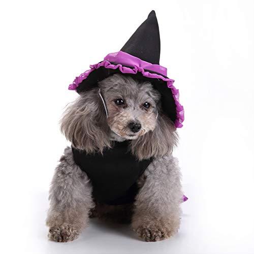Muzhili3 Halloween-Kostüm für Hunde (1 Hundekleid und 1 Hut) für Welpen, Zauberer und Hut, Polyester, M (Hunde Geld Tasche Kostüm)