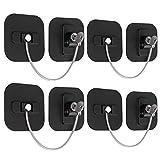 eSynic Lot de 4 verrous de porte de congélateur avec clé de retenue de câble adhésif pour réfrigérateurs, armoires, congélateurs, sèche-linge, noir