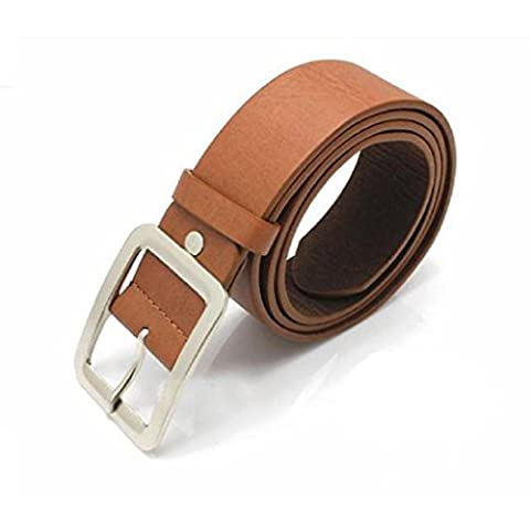 Malloom Men's Casual Faux Leather Belt Buckle Waist Strap Belts (brown)