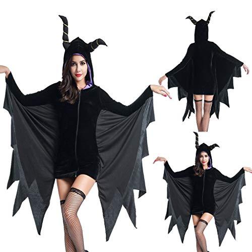 Allence Damen Halloween Kostüm Schwarz Fledermausflügel Ärmel