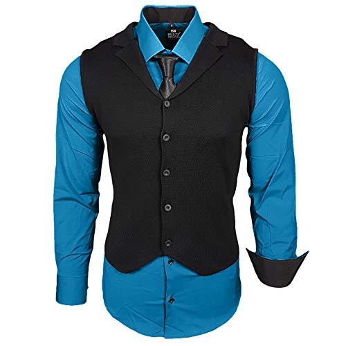 Rusty Neal Business Herren Hemd+Weste+Krawatte Set Anzug Smoking Sakko Herrenanzug Slim fit Hemden Freizeit Hochzeit RN-40-44, Größe:2XL, Farbe:Petrol