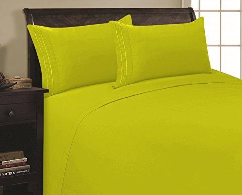 Eleganten Komfort 1500Fadenzahl Ägyptische Qualität Super Soft knitterfreie und knitterfrei 3TEILIGES Tabelle Set, Lime Neon Green, Twin/Twin XL
