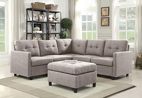 Oadeer Home D6013-2-Light Grey-6PCS, Grau - Modulare Sectionals
